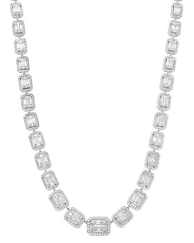 Bloomingdale's - Diamond Mosaic Statement Necklace in 14K White Gold, 10.0 ct. t.w. - 100% Exclusive