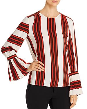Tory Burch Striped Silk Flare-Sleeve Blouse
