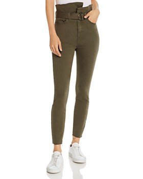 Pistola - Alicia Paperbag-Waist Skinny Jeans in Dark Moss - 100% Exclusive