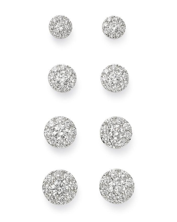 Bloomingdale's - Cluster Diamond Stud Earrings in 14K White Gold - 100% Exclusive