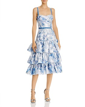 MARCHESA NOTTE - Tiered Metallic Floral-Pattern Dress