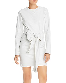 MSGM - Abito Croc-Embossed Faux Leather Dress