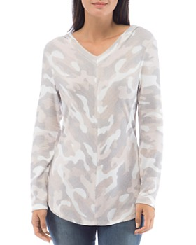 B Collection by Bobeau - Camo V-Neck Hoodie