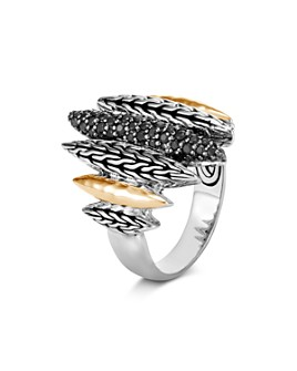 JOHN HARDY - Classic Chain Spear Black Sapphire & Black Spinel Ring in Sterling Silver & 18K Yellow Gold - 100% Exclusive