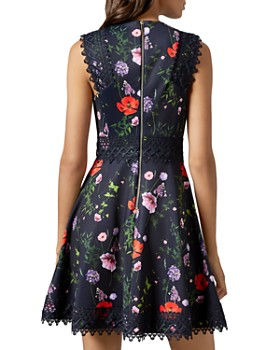 Ted Baker - Mayo Hedgerow-Print Lace-Trimmed Skater Dress