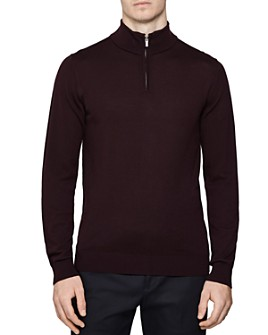 REISS - Blackhall Funnel Quarter-Zip Sweater