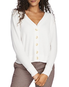 1.STATE - Button-Front Pointelle Sweater
