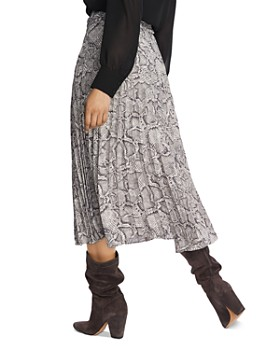 1.STATE - Pleated Snakeskin-Print Midi Skirt