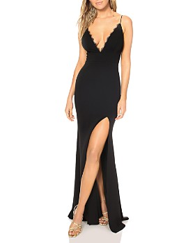 Katie May - Saylor Plunging Lace-Trimmed Gown