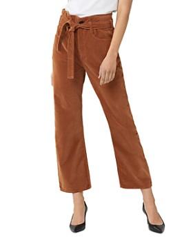 3x1 - Kelly Paperbag-Waist Velvet Jeans in Russet