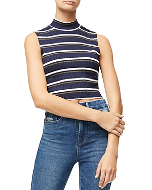 Good American Ribbed Mock Neck Cropped Top
