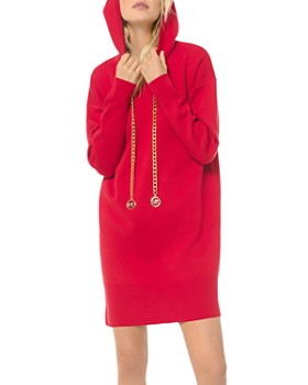 MICHAEL Michael Kors - Logo Chain Cotton Stretch Hoodie Dress