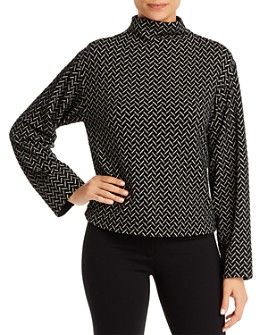 Armani - Mock Neck Chevron-Jersey Top