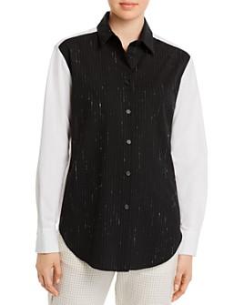 Piazza Sempione - Metallic Pinstriped Virgin Wool-Blend Shirt