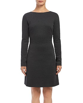 Theory - Kamelina Long-Sleeve Houndstooth Dress