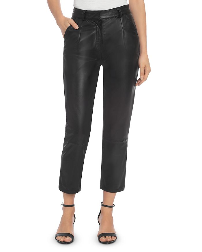 BAGATELLE.CITY - Pleated Leather Ankle Pants