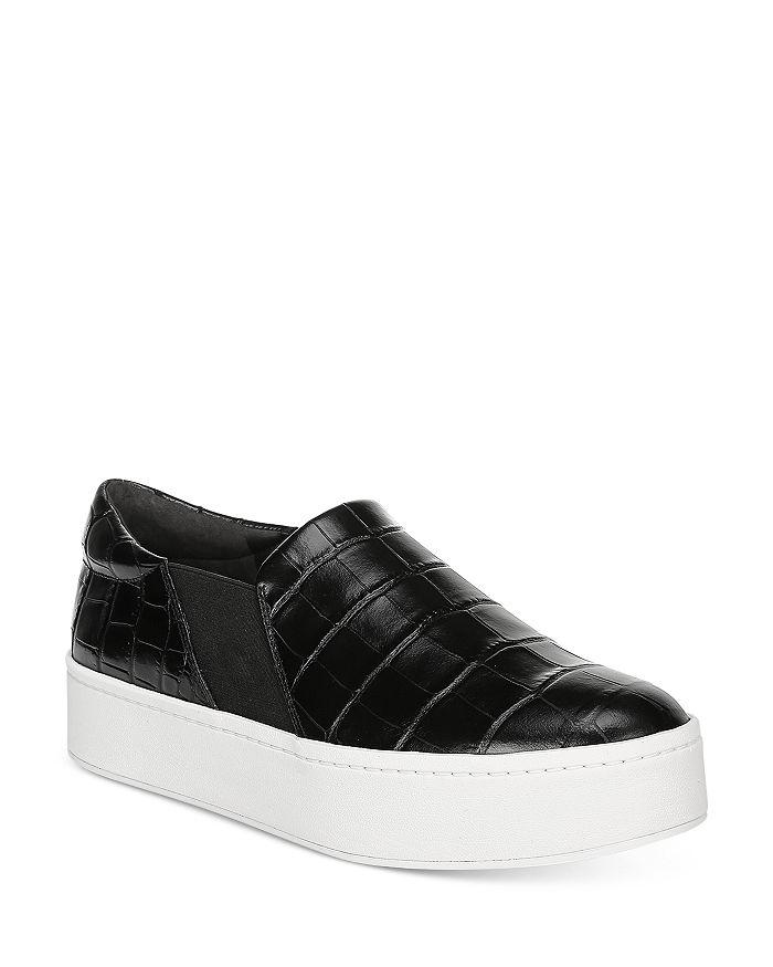 Vince Women's Warren Platform Sneakers In Black Croc Embossed Leather