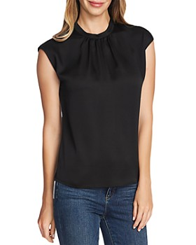 VINCE CAMUTO - Satin Shirred-Neck Top
