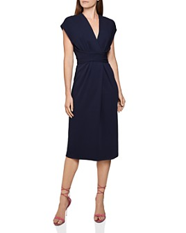 REISS - Maxime Belted Faux Wrap Dress