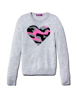 AQUA - Girls' Cashmere Camo-Heart Sweater, Big Kid - 100% Exclusive