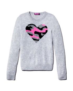 AQUA - Girls' Cashmere Camo-Heart Sweater, Big Kid - 100% Exclusive