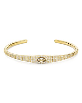 Nadri - Shield Flexible Cuff Bracelet in 18K Yellow Gold-Plated & Ruthenium-Plated Sterling Silver or Rhodium-Plated Sterling Silver