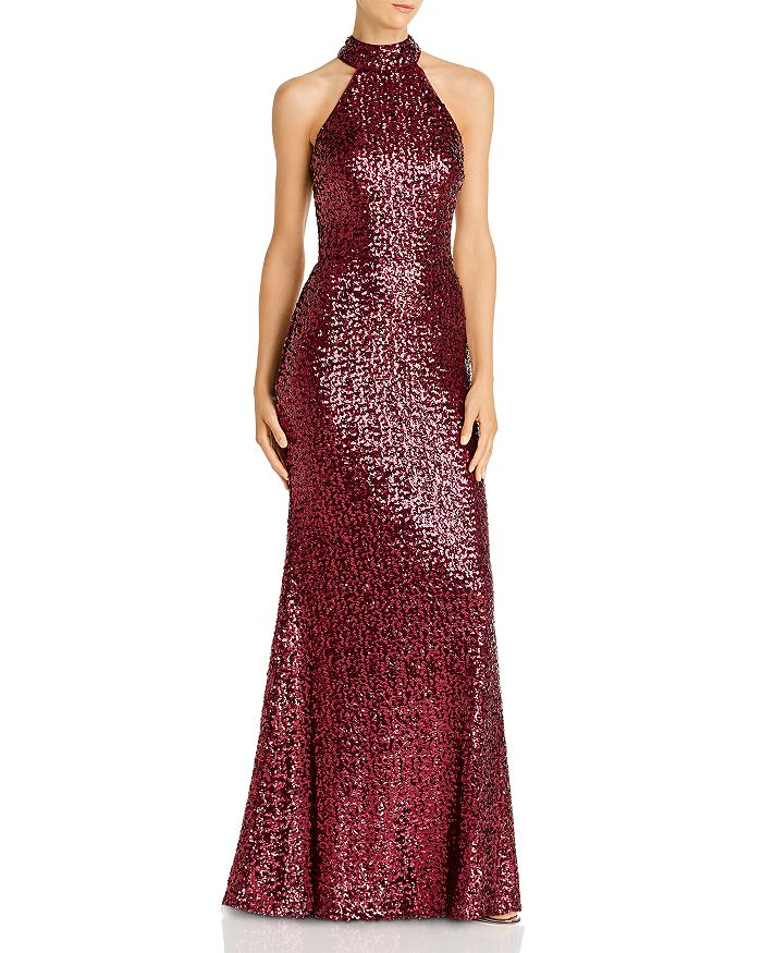 AQUA - Sequin Mock-Neck Gown - 100% Exclusive