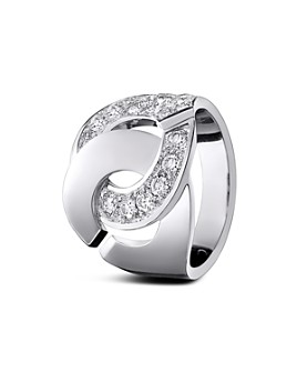 Dinh Van - 18K White Gold Menottes Ring with Diamonds