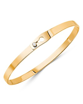 Dinh Van - 18K Yellow Gold Serrure Bangle Bracelet with Diamonds