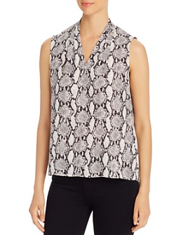 T Tahari - Edie Sleeveless Snake-Print Top