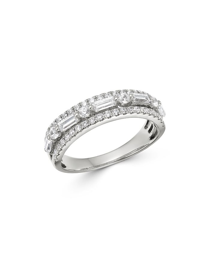 Bloomingdale's - Round & Baguette Diamond Band in 14K White Gold, 0.75 ct. t.w. - 100% Exclusive
