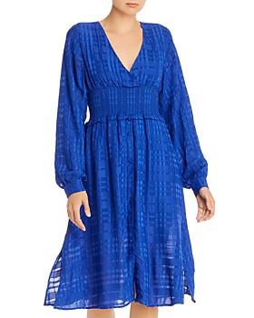 AQUA - Smocked Plaid Midi Dress - 100% Exclusive