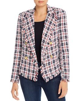 AQUA - Plaid Tweed Open-Front Blazer - 100% Exclusive