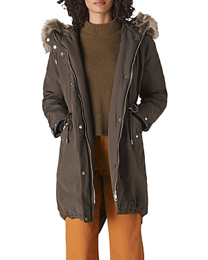 Whistles Faux Fur Trimmed Casual Parka-Women