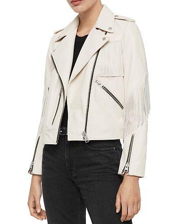 ALLSAINTS - X Fringe-Trim Leather Biker Jacket - 100% Exclusive