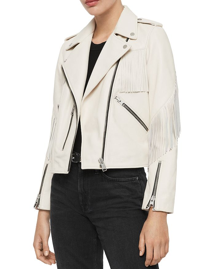 ALLSAINTS - X Fringe-Trim Leather Biker Jacket - 100% Exclusive