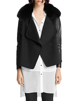 HALSTON - Open Front Jacket with Fur Collar
