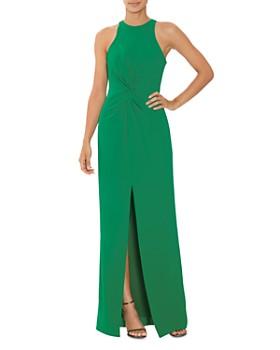 HALSTON - Twist-Detail Crepe Gown