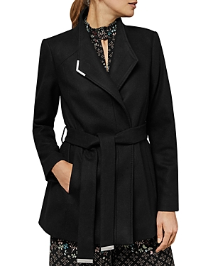 Ted Baker Drytaa Belted Short Coat In Black