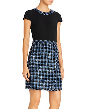KARL LAGERFELD Paris - Ponte Knit & Tweed Combo Dress