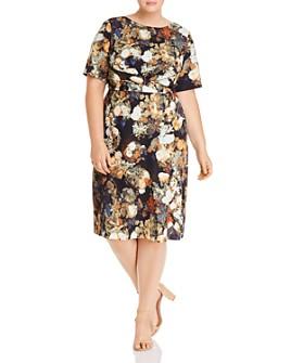 Adrianna Papell Plus - Short-Sleeve Floral-Print Dress