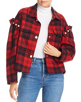 No Frills by Mother of Pearl - Faux Pearl Plaid Wool Jacket