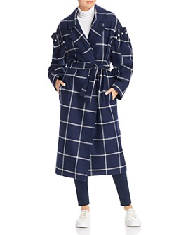 No Frills by Mother of Pearl - Windowpane Plaid Belted Wool Coat
