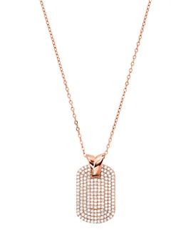 """Michael Kors - Pavé Dog Tag Necklace in Sterling Silver, 14K Gold-Plated Sterling Silver or 14K Rose Gold-Plated Sterling Silver, 16"""""""