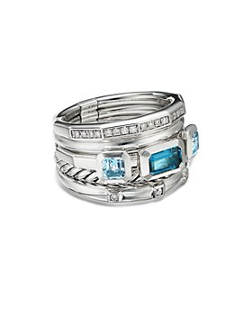 David Yurman - Sterling Silver Stax Wide Ring with Hampton Blue Topaz & Diamonds