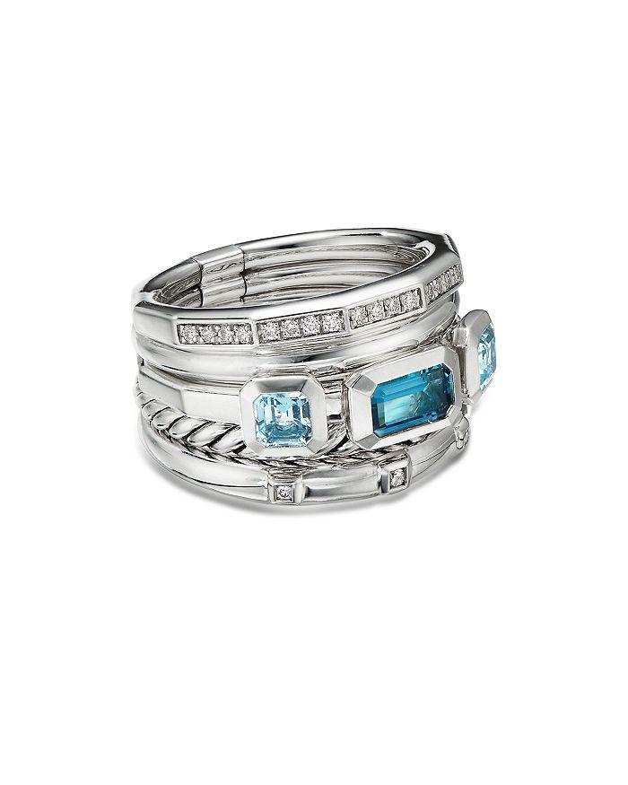 David Yurman - Sterling Silver Stax Wide Ring with Hampton Blue Topaz & Diamonds