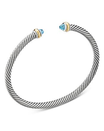 David Yurman - Sterling Silver & 18K Yellow Gold Cable Classic Bracelet with Blue Topaz