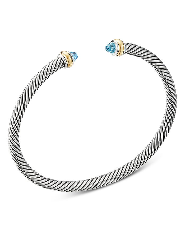 David Yurman - Sterling Silver Cable Classic Bracelet with Gemstones