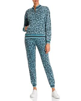 Vintage Havana - Vintage Havana Leopard Print Quarter-Zip Sweatshirt & Sweatpants