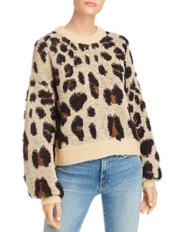Bardot - Balloon-Sleeve Leopard-Pattern Sweater